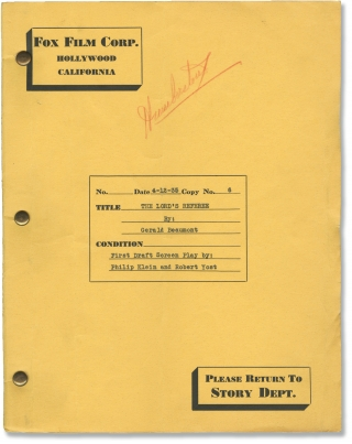 Silk Hat Kid [The Lord's Referee] (Original screenplay for the 1935 film, director H. Bruce...