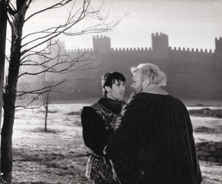 Chimes at Midnight [Falstaff] (Two original photographs from the 1965 film). Orson Welles,...
