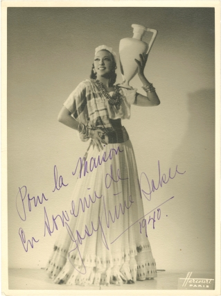Original photograph of Josephine Baker, inscribed by her in 1940. Josephine Baker, subject