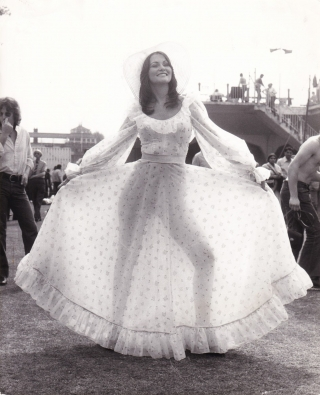 Original photograph of Linda Lovelace at Lord's cricket ground, June 20, 1974. Linda Lovelace,...