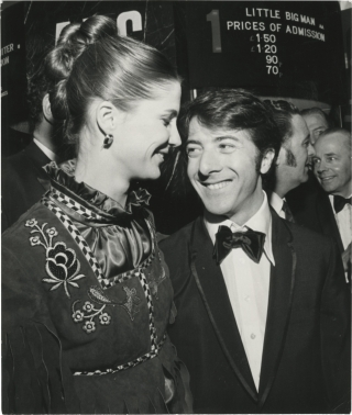 Original photograph of Dustin Hoffman and Anne Byrne at the London premiere of Little Big Man,...