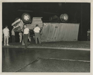 Archive of 48 original photographs of car accident scenes, 1961-1968. Automobile accidents