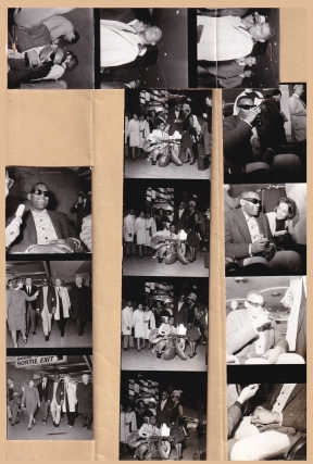 Ray Charles in Paris, 1963 (Collection of four contact sheets [14 images], and 14 negatives [on...