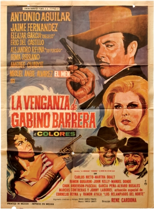 La venganza de Gabino Barrera (Original poster for the 1971 film). Rene Cardona, Rafael Garcis...
