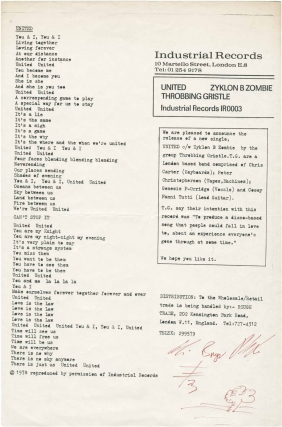 Original flyer for the release of United b/w Zyklon B Zombie, signed by Genesis P-Orridge....