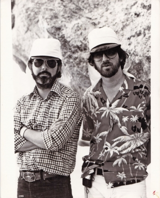 Raiders of the Lost Ark (Original photograph of George Lucas and Steven Spielberg on the set of...