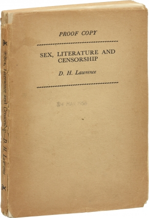 Sex, Literature, and Censorship (UK Uncorrected Proof). D. H. Lawrence, Harry T. Moore
