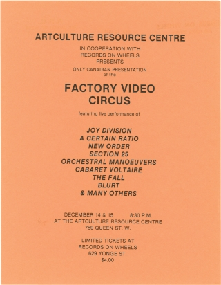 Video Circus (Original flyer for a screening of the 1981 film). A. Certain Ration Joy Division,...
