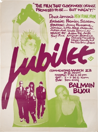Jubilee (Original poster for a screening of the 1978 film). Derek Jarman, Nell Cambell Jenny...