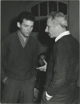 Le Trou [The Hole] (Original photograph of Jacques Becker and Marc Michel from the set of the...