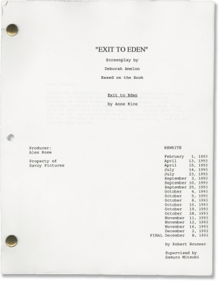 Exit to Eden (Original screenplay for the 1994 film). Anne Rice, Garry Marshall, Paul Mercurio...