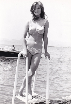 Original photograph of Charlotte Rampling in swimsuit, Cannes, France, May 15, 1965. Charlotte...