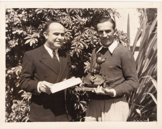 Original photograph of Walt Disney and Marcondes Alves de Souza Jr., 1934. Walt Disney, Marcondes...
