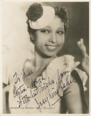 Zouzou (Original press portrait photograph of Josephine Baker from the 1934 film, inscribed)....