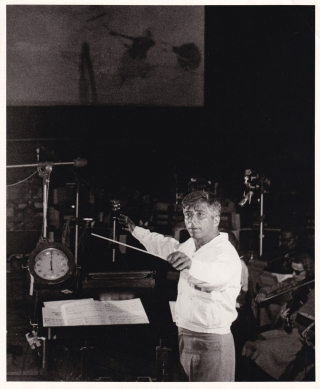 Original photograph of Elmer Bernstein recording the soundtrack to The Man with the Golden Arm,...