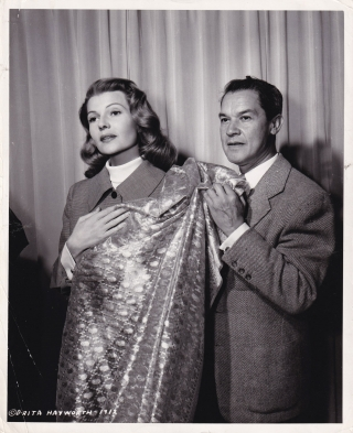 Original photograph of Rita Hayworth and Jean Louis, circa 1954. Rita Hayworth, Jean Louis, subjects