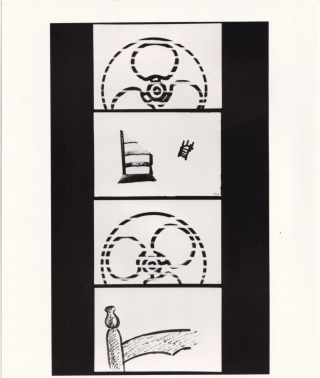 Collection of four original photographs of Robert Breer and stills from several of his animated films