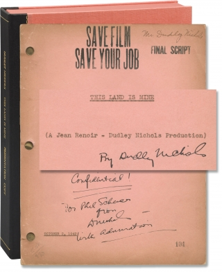 This Land is Mine (Original screenplay for the 1943 film, copy inscribed by screenwriter Dudley...