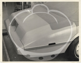 Archive of ten vintage photographs of a full-size clay model Pontiac, circa 1970s