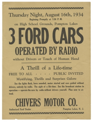 Original flyer for a remote radio-controlled Ford Motors automobile event, 1934. Automobile