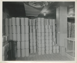 Collection of nine original photographs of industrial dairy freezers, circa 1950s. Industrial...