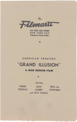 La Grande Illusion [The Grand Illusion] (Original program for the 1938 US premiere of the 1937...