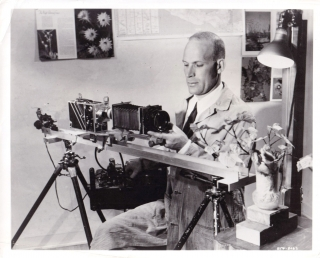 Original photograph of photographer Stuart Jewell at work on Beaver Valley, 1948. Stuart Jewell,...