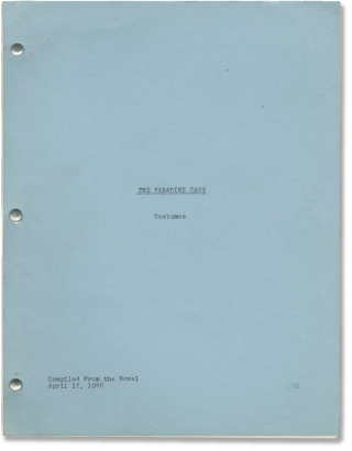 The Paradine Case (Original Costumes script for the 1947 film). Alfred Hitchcock, Robert...