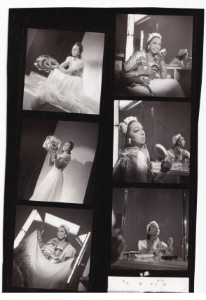 Original contact sheet with six distinct images of Josephine Baker at the Casino de Paris Theatre...