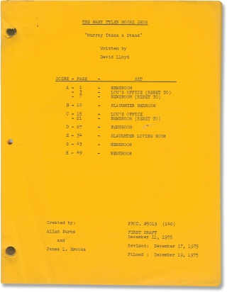 The Mary Tyler Moore Show: Murray Takes a Stand (Post-production script for the 1976 television...