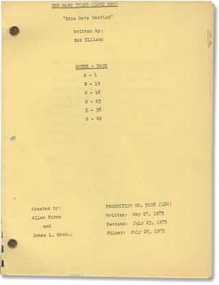 The Mary Tyler Moore Show: Edie Gets Married (Post-production script for the 1975 television...