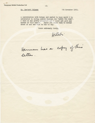 """Original typed letter signed from Alfred Hitchcock to assistant director Herbert Coleman, regarding """"To Catch a Thief,"""" """"The Trouble with Harry,"""" and other matters"""