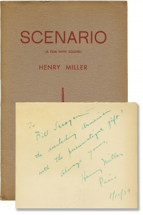 Scenario: A Film with Sound (First Edition, inscribed to William Saroyan). Henry Miller