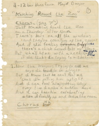 "Original manuscript for ""Knocking 'Round the Zoo"" James Taylor"